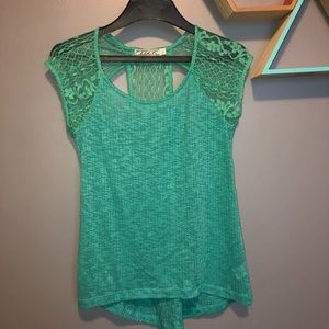 Teal Lace Blouse